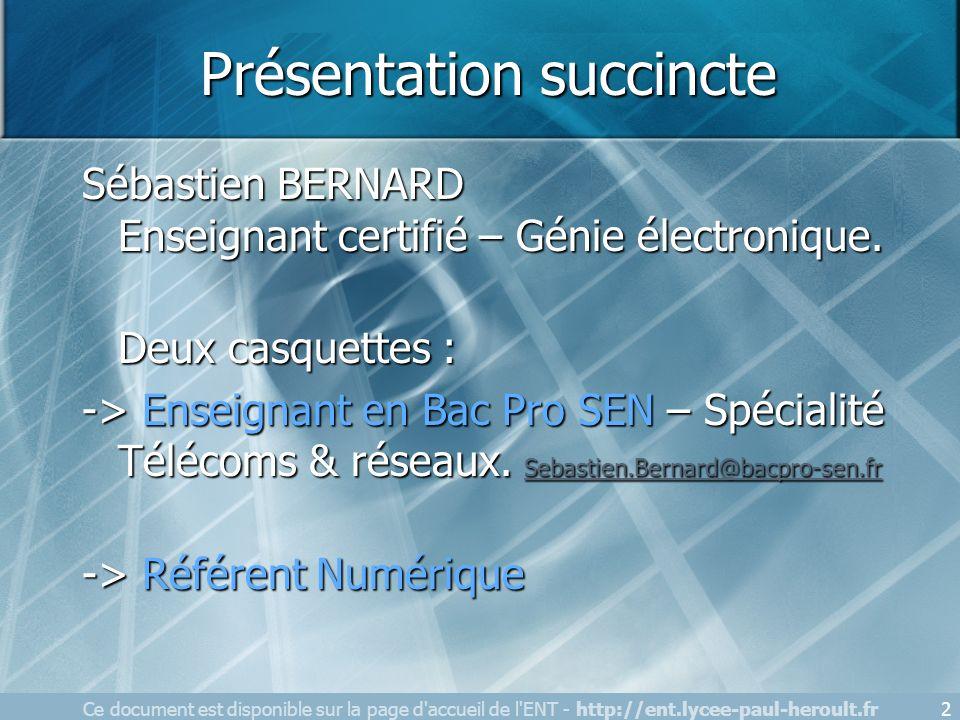 Présentation succincte Sébastien BERNARD Enseignant certifié – Génie électronique. Deux casquettes : -> Enseignant en Bac Pro SEN – Spécialité Télécom