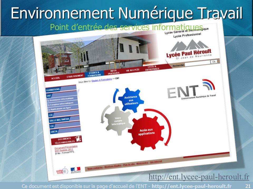 21 http://ent.lycee-paul-heroult.fr Environnement Numérique Travail Point dentrée des services informatiques