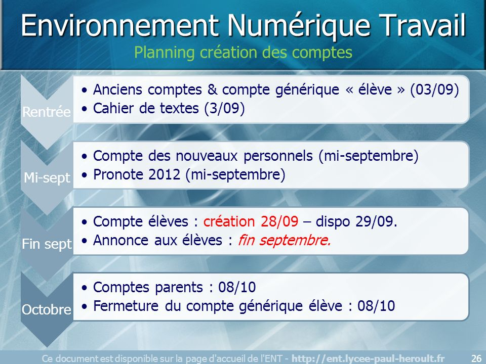 Ce document est disponible sur la page d'accueil de l'ENT - http://ent.lycee-paul-heroult.fr26 Environnement Numérique Travail Planning création des c