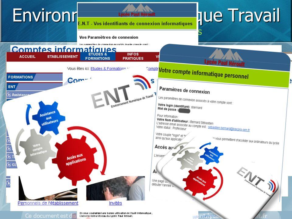Ce document est disponible sur la page d'accueil de l'ENT - http://ent.lycee-paul-heroult.fr Environnement Numérique Travail Demander ces identifiants