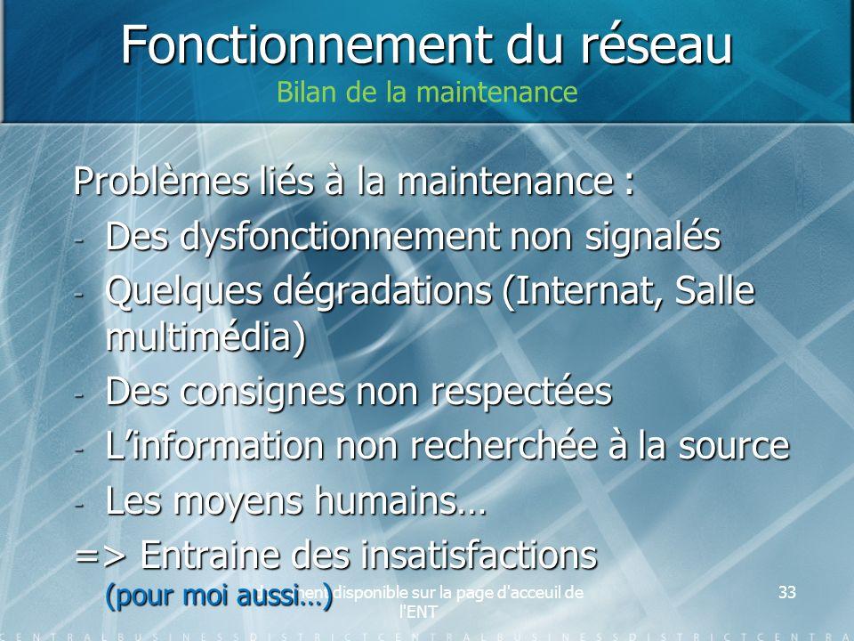 document disponible sur la page d'acceuil de l'ENT 33 Problèmes liés à la maintenance : - Des dysfonctionnement non signalés - Quelques dégradations (