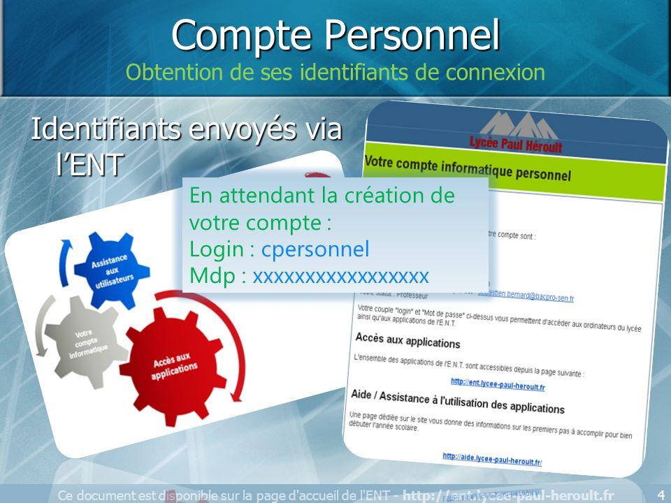 4 Identifiants envoyés via lENT 4 Compte Personnel Obtention de ses identifiants de connexion En attendant la création de votre compte : Login : cpers