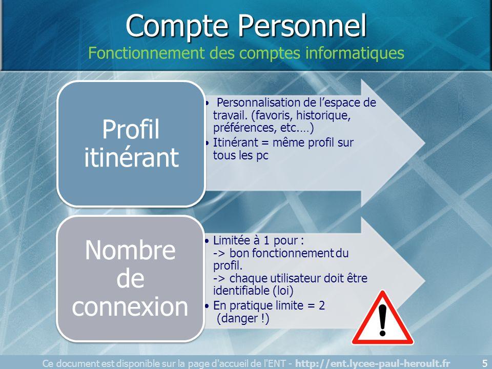 Compte Personnel Fonctionnement des comptes informatiques Ce document est disponible sur la page d'accueil de l'ENT - http://ent.lycee-paul-heroult.fr
