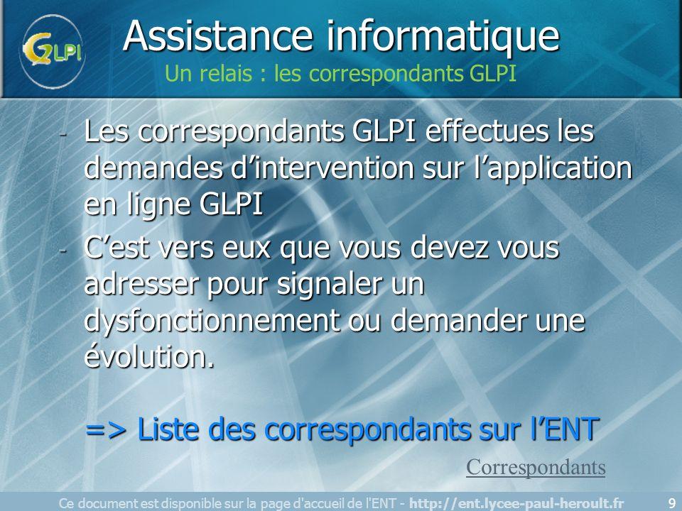 - Les correspondants GLPI effectues les demandes dintervention sur lapplication en ligne GLPI - Cest vers eux que vous devez vous adresser pour signal
