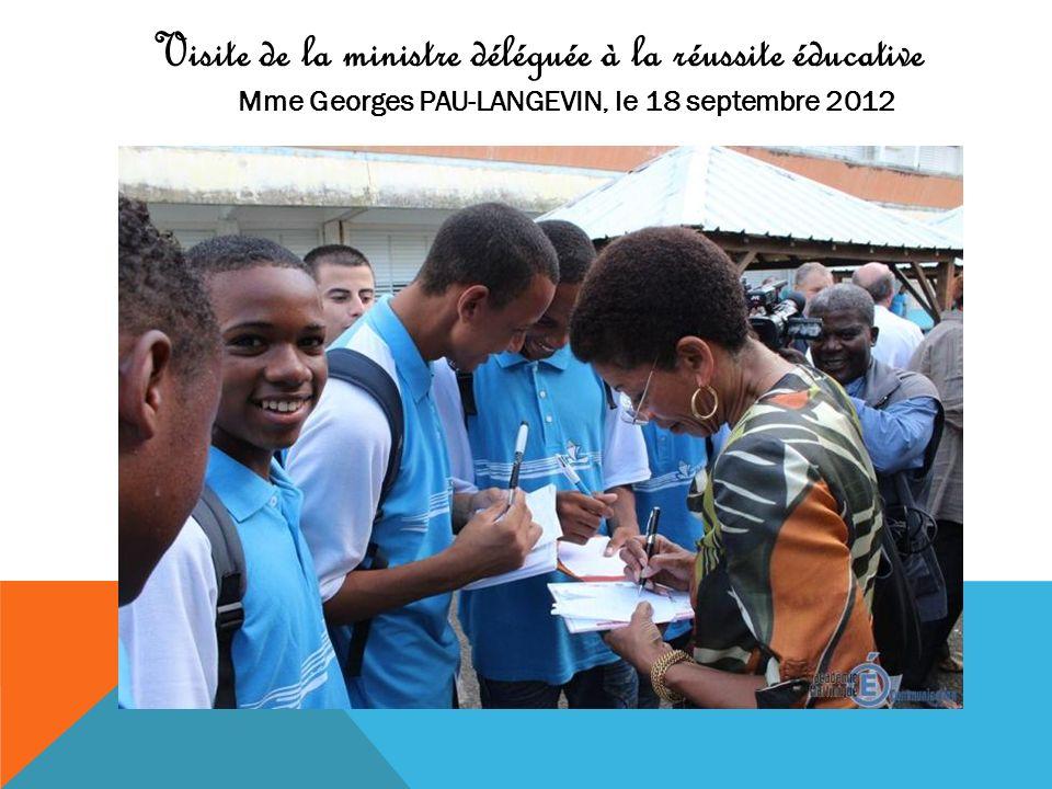 Visite de la ministre déléguée à la réussite éducative Mme Georges PAU-LANGEVIN, le 18 septembre 2012
