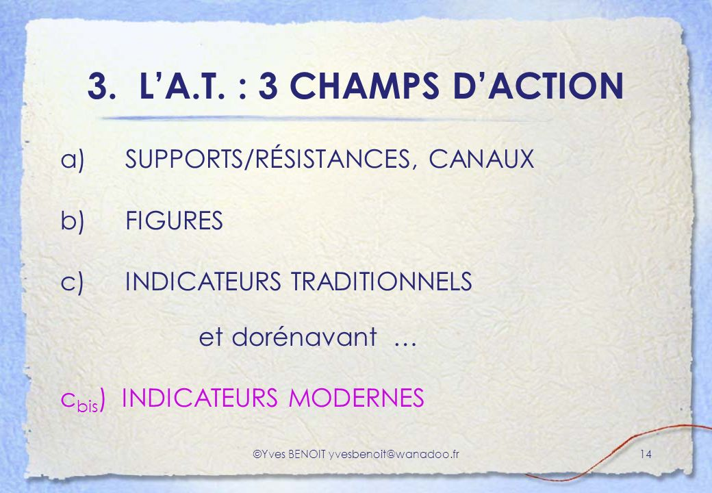 ©Yves BENOIT yvesbenoit@wanadoo.fr14 3. LA.T. : 3 CHAMPS DACTION a) SUPPORTS/RÉSISTANCES, CANAUX b) FIGURES c) INDICATEURS TRADITIONNELS et dorénavant