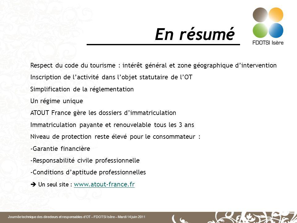 Journée technique des directeurs et responsables dOT – FDOTSI Isère – Mardi 14 juin 2011 En résumé Respect du code du tourisme : intérêt général et zo