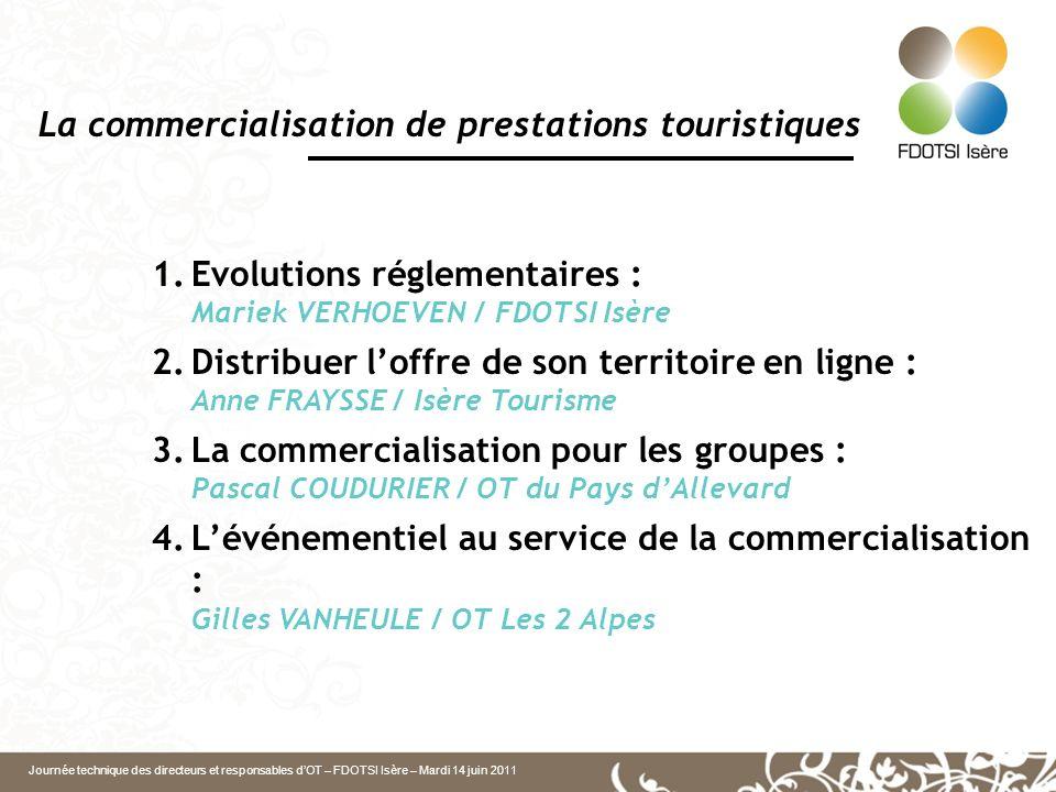 Journée technique des directeurs et responsables dOT – FDOTSI Isère – Mardi 14 juin 2011 La commercialisation de prestations touristiques 1.Evolutions
