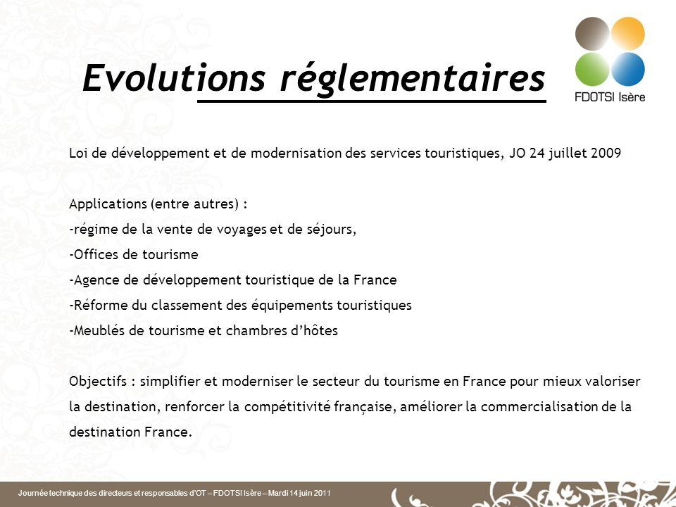 Journée technique des directeurs et responsables dOT – FDOTSI Isère – Mardi 14 juin 2011 Evolutions réglementaires Loi de développement et de modernis