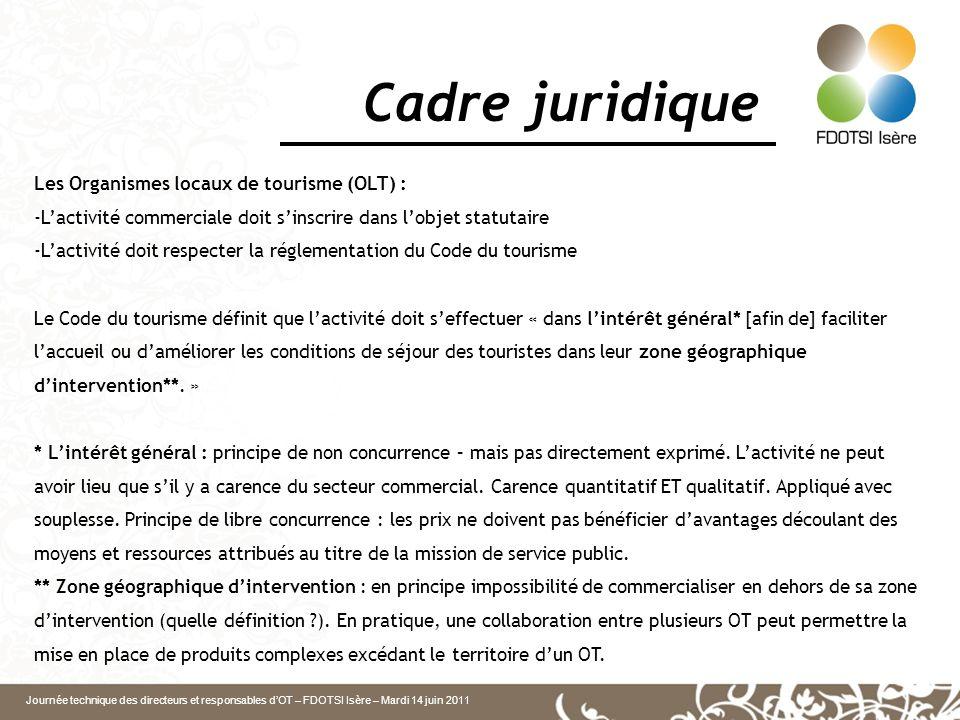 Journée technique des directeurs et responsables dOT – FDOTSI Isère – Mardi 14 juin 2011 Cadre juridique Les Organismes locaux de tourisme (OLT) : -La
