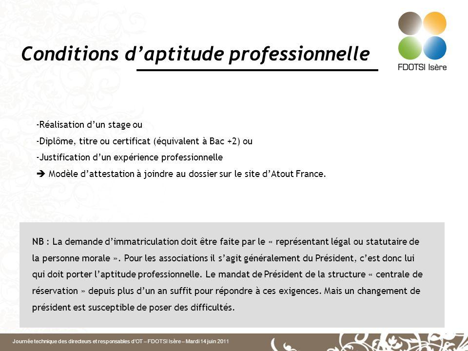 Journée technique des directeurs et responsables dOT – FDOTSI Isère – Mardi 14 juin 2011 Conditions daptitude professionnelle -Réalisation dun stage o