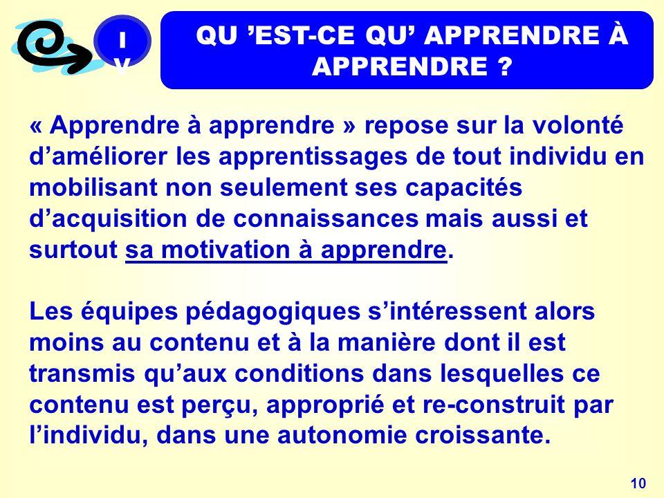 10 « Apprendre à apprendre » repose sur la volonté daméliorer les apprentissages de tout individu en mobilisant non seulement ses capacités dacquisition de connaissances mais aussi et surtout sa motivation à apprendre.