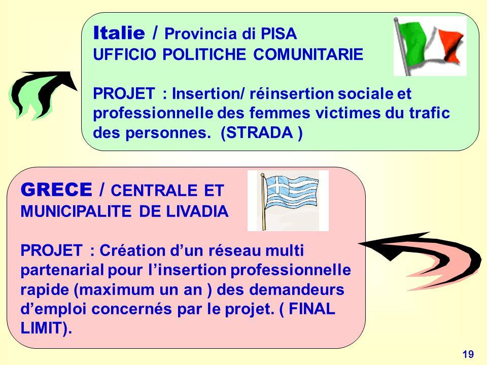 19 Italie / Provincia di PISA UFFICIO POLITICHE COMUNITARIE PROJET : Insertion/ réinsertion sociale et professionnelle des femmes victimes du trafic des personnes.