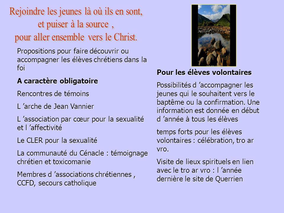 Propositions pour faire découvrir ou accompagner les élèves chrétiens dans la foi A caractère obligatoire Rencontres de témoins L arche de Jean Vannie