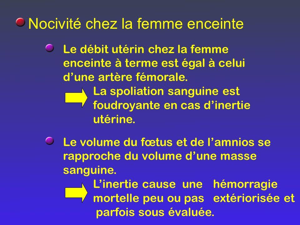 Nocivité chez la femme enceinte Le débit utérin chez la femme enceinte à terme est égal à celui dune artère fémorale. La spoliation sanguine est foudr