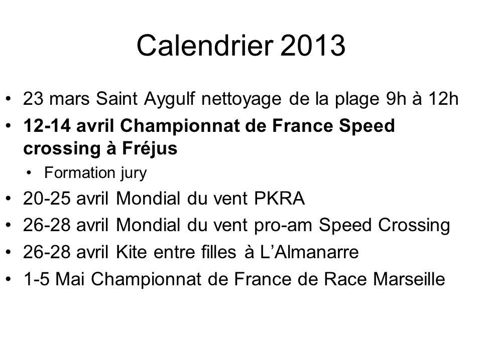 Calendrier 2013 23 mars Saint Aygulf nettoyage de la plage 9h à 12h 12-14 avril Championnat de France Speed crossing à Fréjus Formation jury 20-25 avr