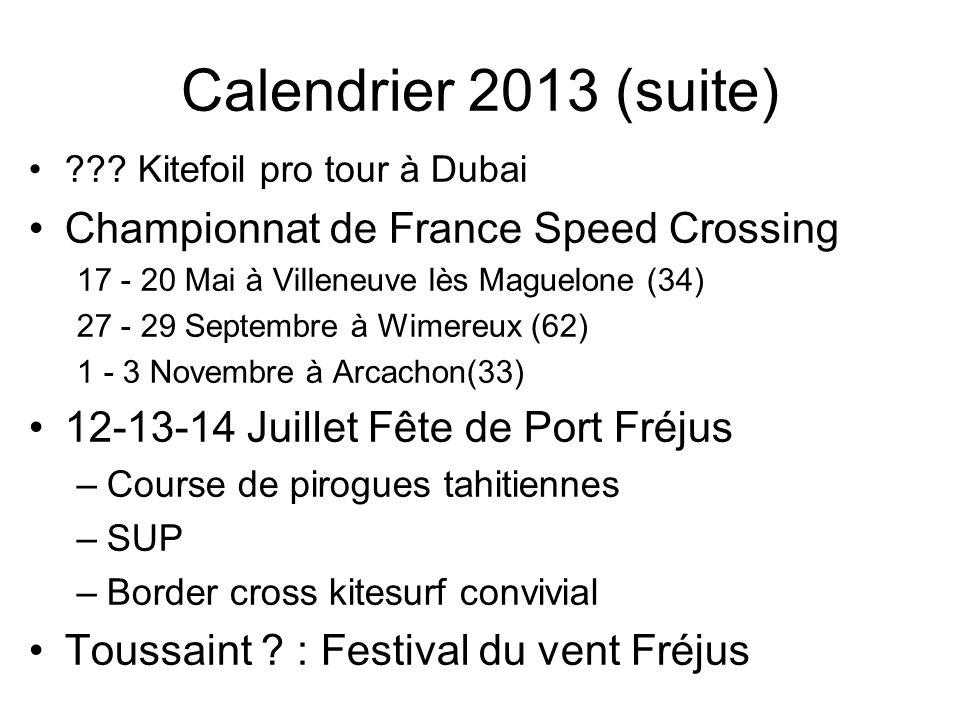 Calendrier 2013 (suite) ??? Kitefoil pro tour à Dubai Championnat de France Speed Crossing 17 - 20 Mai à Villeneuve lès Maguelone (34) 27 - 29 Septemb