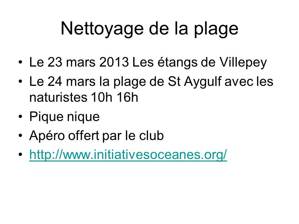 Nettoyage de la plage Le 23 mars 2013 Les étangs de Villepey Le 24 mars la plage de St Aygulf avec les naturistes 10h 16h Pique nique Apéro offert par