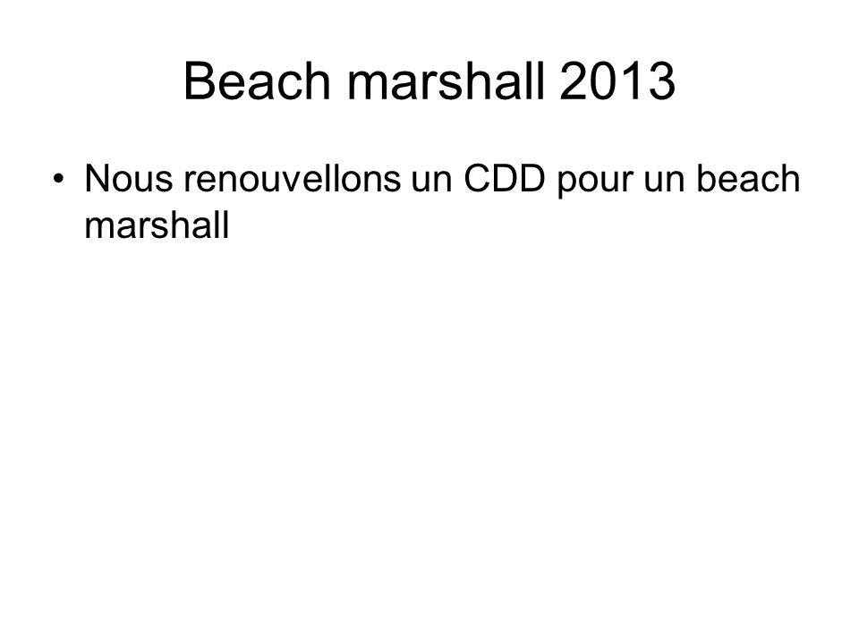 Beach marshall 2013 Nous renouvellons un CDD pour un beach marshall