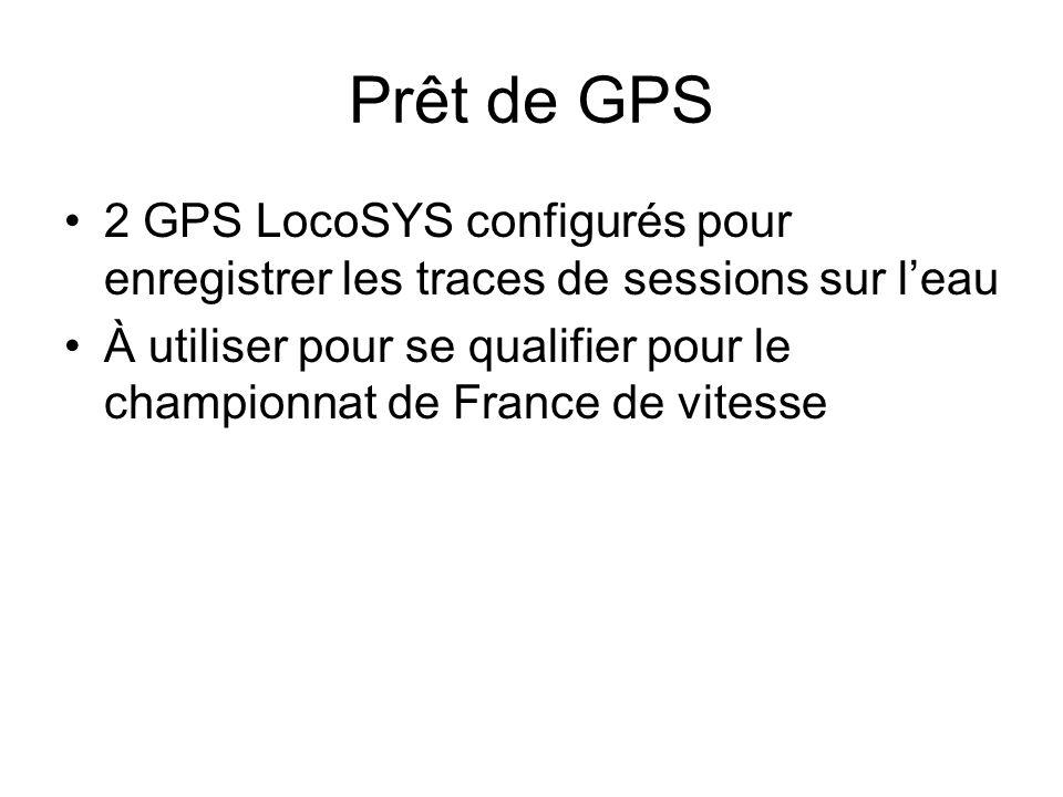 Prêt de GPS 2 GPS LocoSYS configurés pour enregistrer les traces de sessions sur leau À utiliser pour se qualifier pour le championnat de France de vi