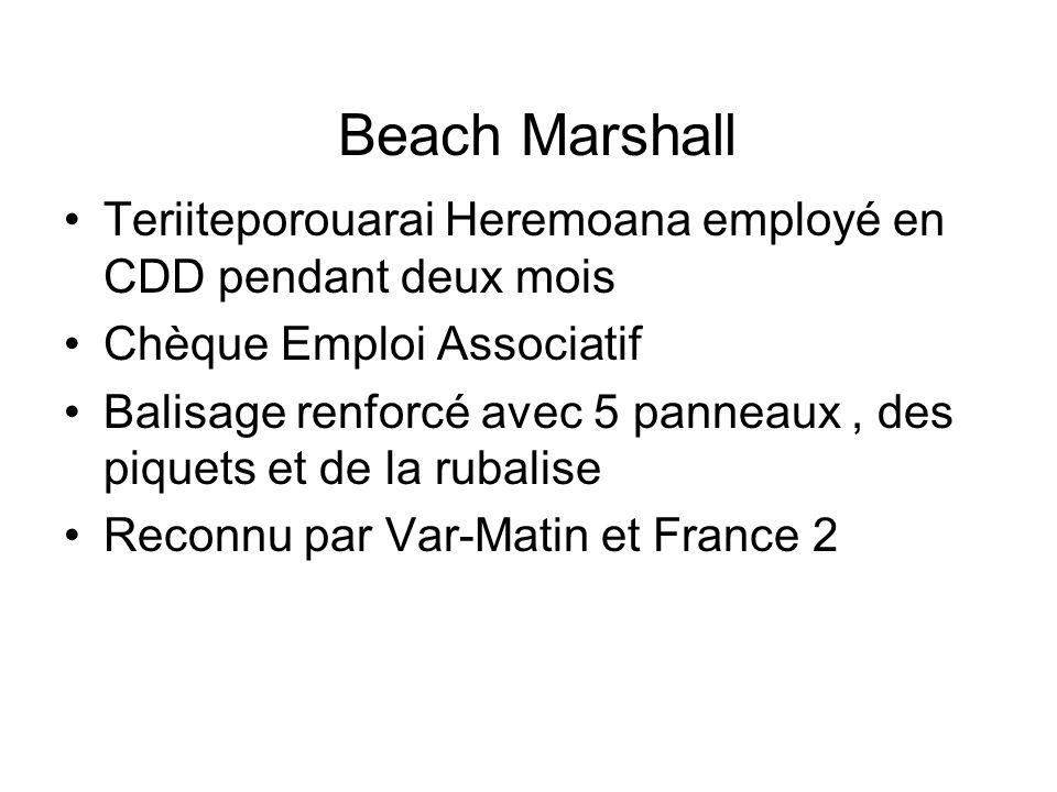 Beach Marshall Teriiteporouarai Heremoana employé en CDD pendant deux mois Chèque Emploi Associatif Balisage renforcé avec 5 panneaux, des piquets et
