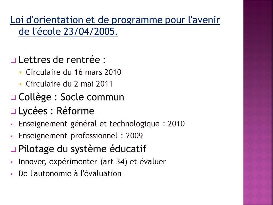 Loi d'orientation et de programme pour l'avenir de l'école 23/04/2005. Lettres de rentrée : Circulaire du 16 mars 2010 Circulaire du 2 mai 2011 Collèg