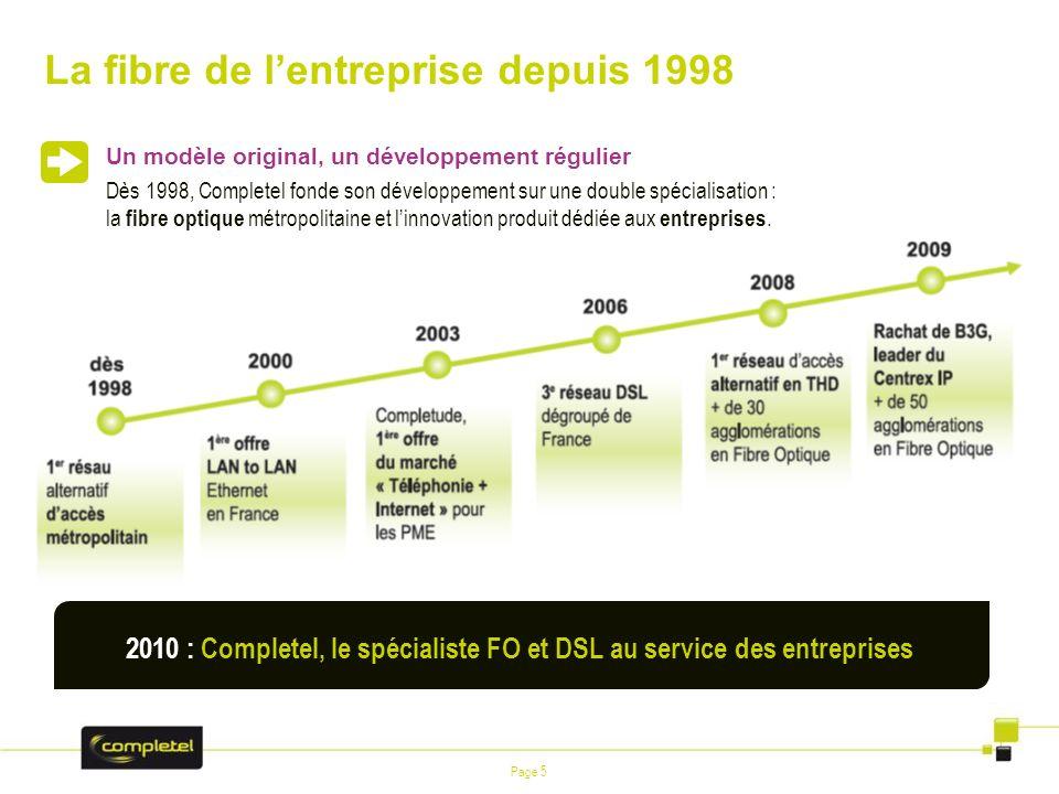 Page 5 La fibre de lentreprise depuis 1998 2010 : Completel, le spécialiste FO et DSL au service des entreprises Un modèle original, un développement