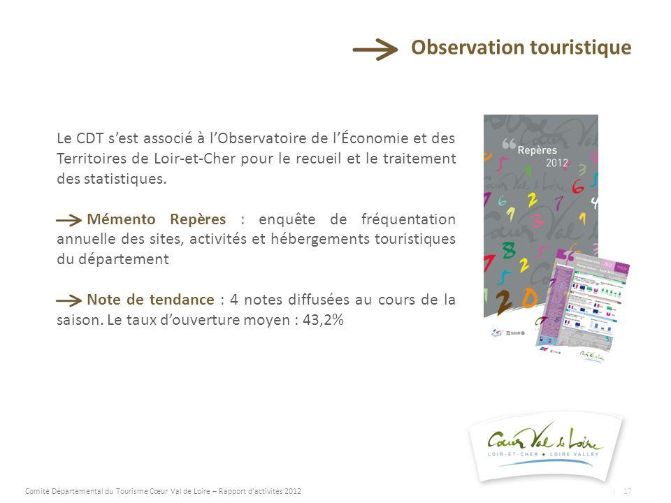 Observation touristique Le CDT sest associé à lObservatoire de lÉconomie et des Territoires de Loir-et-Cher pour le recueil et le traitement des statistiques.