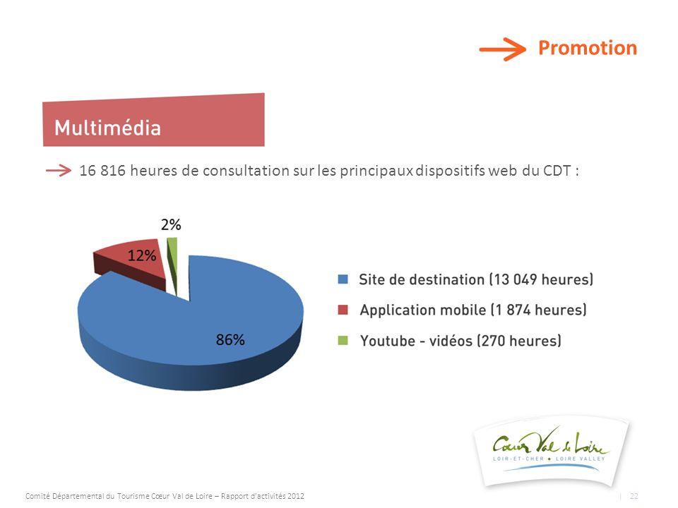 Promotion 16 816 heures de consultation sur les principaux dispositifs web du CDT : Comité Départemental du Tourisme Cœur Val de Loire – Rapport dactivités 2012 | 22