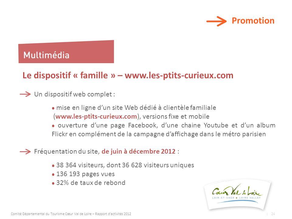 Promotion Le dispositif « famille » – www.les-ptits-curieux.com Un dispositif web complet : mise en ligne dun site Web dédié à clientèle familiale (www.les-ptits-curieux.com), versions fixe et mobile ouverture dune page Facebook, dune chaine Youtube et dun album Flickr en complément de la campagne daffichage dans le métro parisien Fréquentation du site, de juin à décembre 2012 : 38 364 visiteurs, dont 36 628 visiteurs uniques 136 193 pages vues 32% de taux de rebond Comité Départemental du Tourisme Cœur Val de Loire – Rapport dactivités 2012 | 24