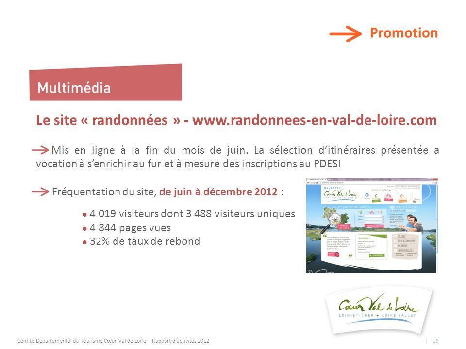 Promotion Le site « randonnées » - www.randonnees-en-val-de-loire.com Mis en ligne à la fin du mois de juin.