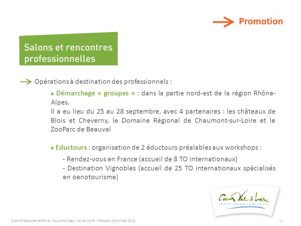 Promotion Opérations à destination des professionnels : Démarchage « groupes » : dans la partie nord-est de la région Rhône- Alpes.