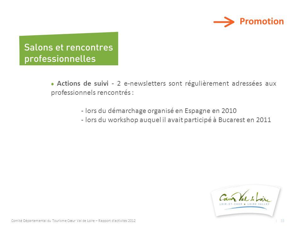Promotion Actions de suivi - 2 e-newsletters sont régulièrement adressées aux professionnels rencontrés : - lors du démarchage organisé en Espagne en 2010 - lors du workshop auquel il avait participé à Bucarest en 2011 Comité Départemental du Tourisme Cœur Val de Loire – Rapport dactivités 2012 | 33