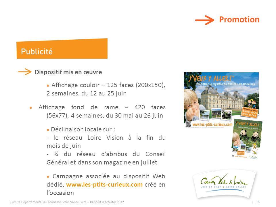 Promotion Dispositif mis en œuvre Affichage couloir – 125 faces (200x150), 2 semaines, du 12 au 25 juin Affichage fond de rame – 420 faces (56x77), 4 semaines, du 30 mai au 26 juin Déclinaison locale sur : - le réseau Loire Vision à la fin du mois de juin - ¼ du réseau dabribus du Conseil Général et dans son magazine en juillet Campagne associée au dispositif Web dédié, www.les-ptits-curieux.com créé en loccasion Comité Départemental du Tourisme Cœur Val de Loire – Rapport dactivités 2012 | 35