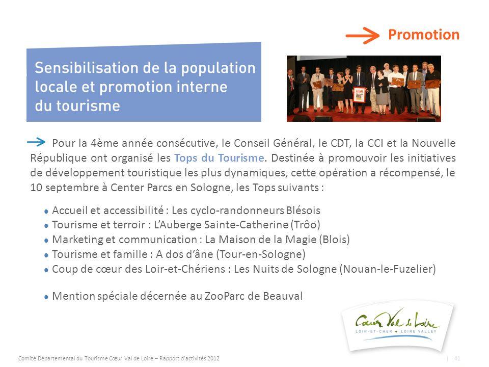 Promotion Pour la 4ème année consécutive, le Conseil Général, le CDT, la CCI et la Nouvelle République ont organisé les Tops du Tourisme.