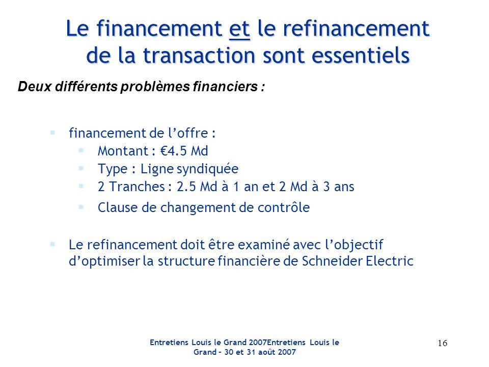 Entretiens Louis le Grand 2007Entretiens Louis le Grand – 30 et 31 août 2007 16 Le financement et le refinancement de la transaction sont essentiels f