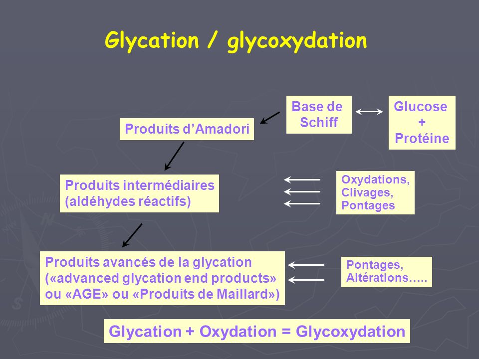 Produits dAmadori Oxydations, Clivages, Pontages Produits intermédiaires (aldéhydes réactifs) Produits avancés de la glycation («advanced glycation end products» ou «AGE» ou «Produits de Maillard») Pontages, Altérations…..