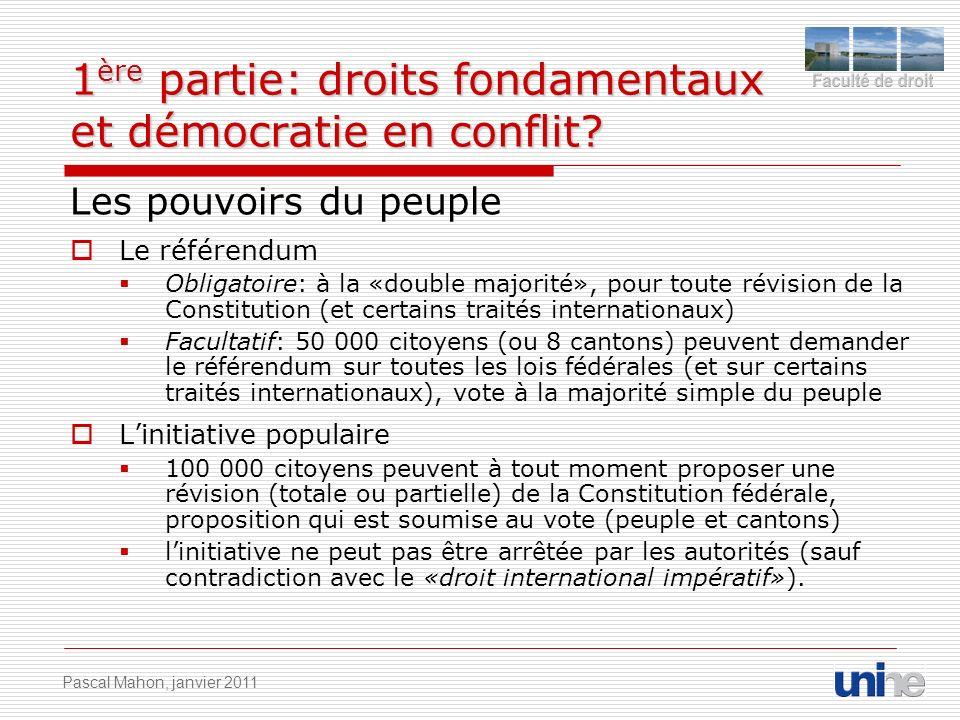 1 ère partie: droits fondamentaux et démocratie en conflit? Les pouvoirs du peuple Le référendum Obligatoire: à la «double majorité», pour toute révis