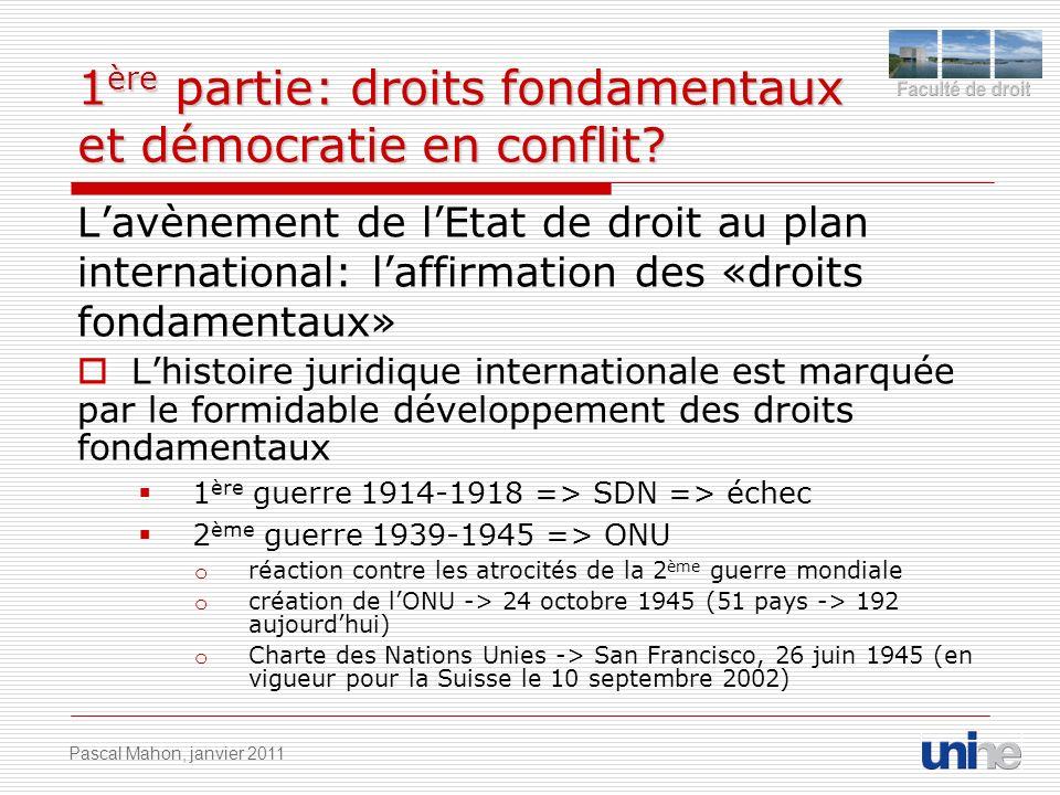 1 ère partie: droits fondamentaux et démocratie en conflit? Lavènement de lEtat de droit au plan international: laffirmation des «droits fondamentaux»