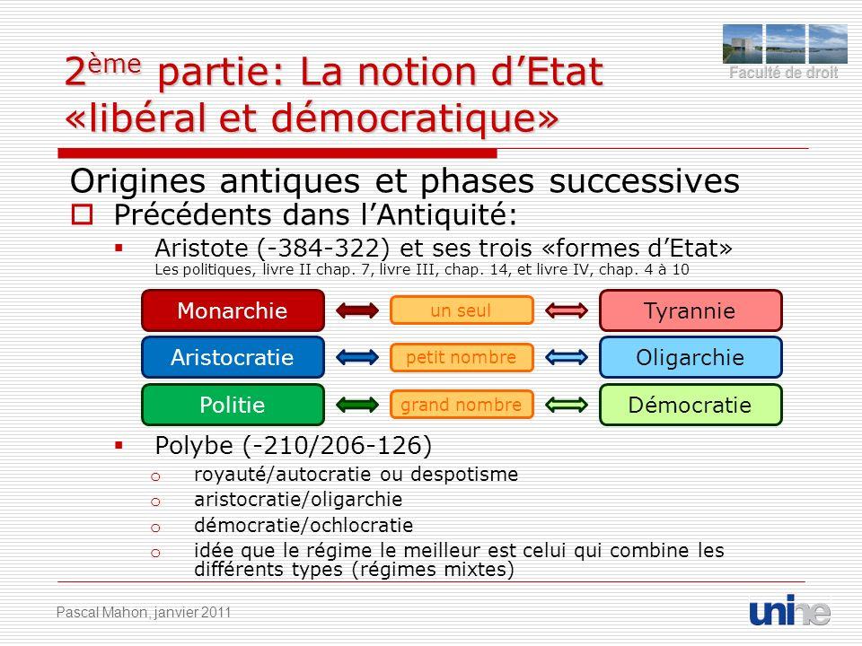 2 ème partie: La notion dEtat «libéral et démocratique» Origines antiques et phases successives Précédents dans lAntiquité: Aristote (-384-322) et ses