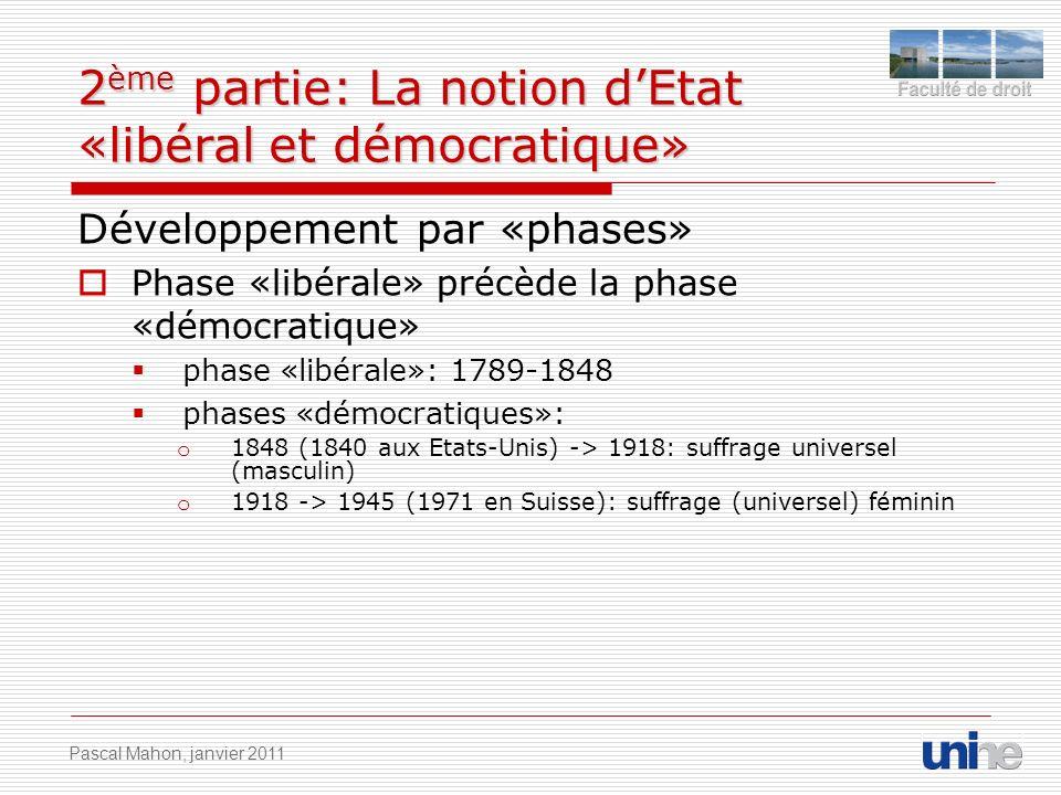 2 ème partie: La notion dEtat «libéral et démocratique» Développement par «phases» Phase «libérale» précède la phase «démocratique» phase «libérale»: