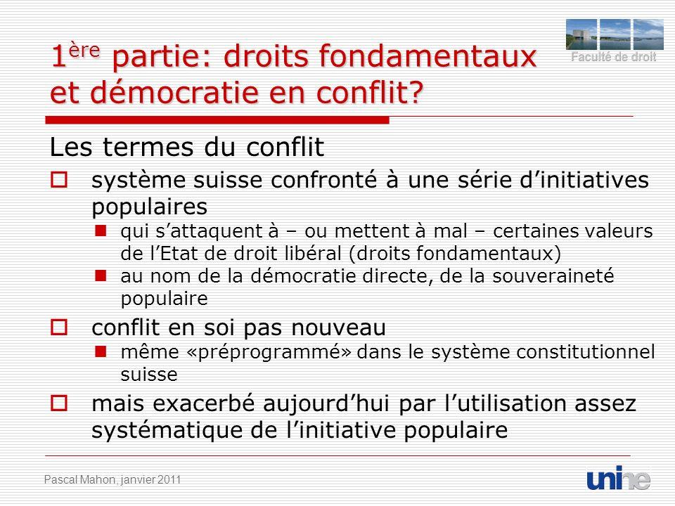 1 ère partie: droits fondamentaux et démocratie en conflit? Les termes du conflit système suisse confronté à une série dinitiatives populaires qui sat