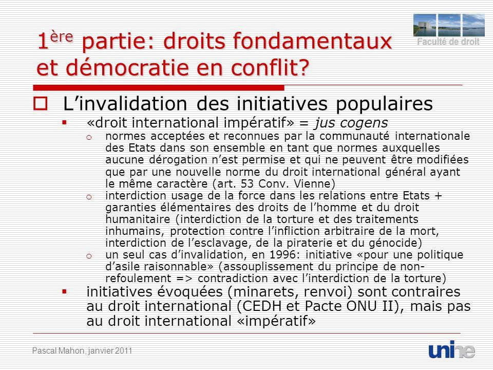 1 ère partie: droits fondamentaux et démocratie en conflit? Linvalidation des initiatives populaires «droit international impératif» = jus cogens o no