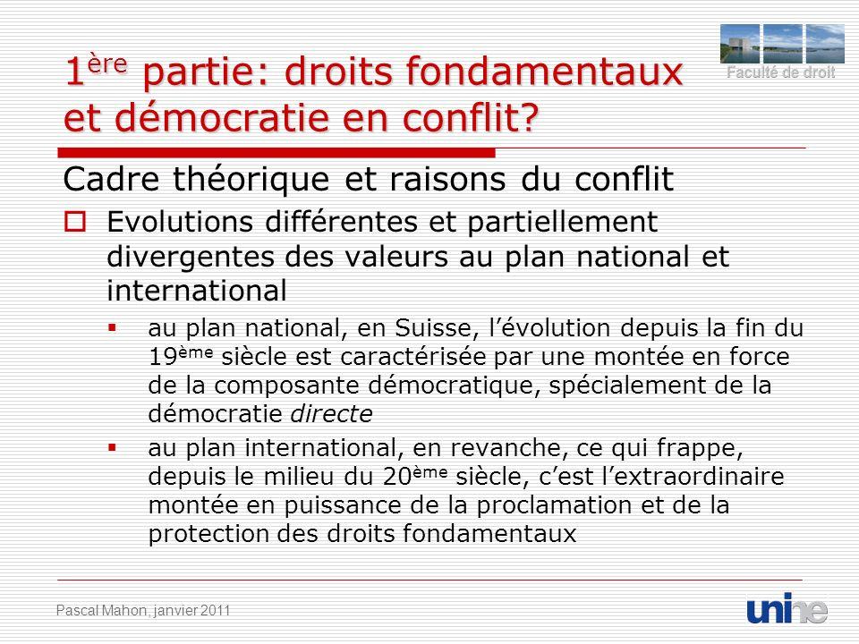 1 ère partie: droits fondamentaux et démocratie en conflit? Cadre théorique et raisons du conflit Evolutions différentes et partiellement divergentes