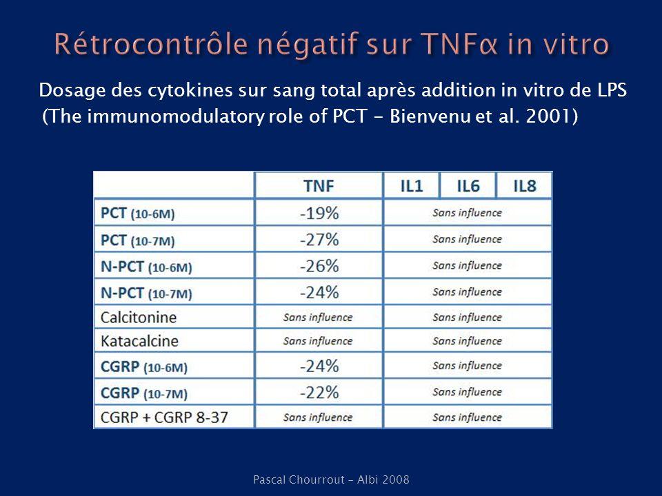 Dosage des cytokines sur sang total après addition in vitro de LPS (The immunomodulatory role of PCT - Bienvenu et al. 2001) Pascal Chourrout - Albi 2