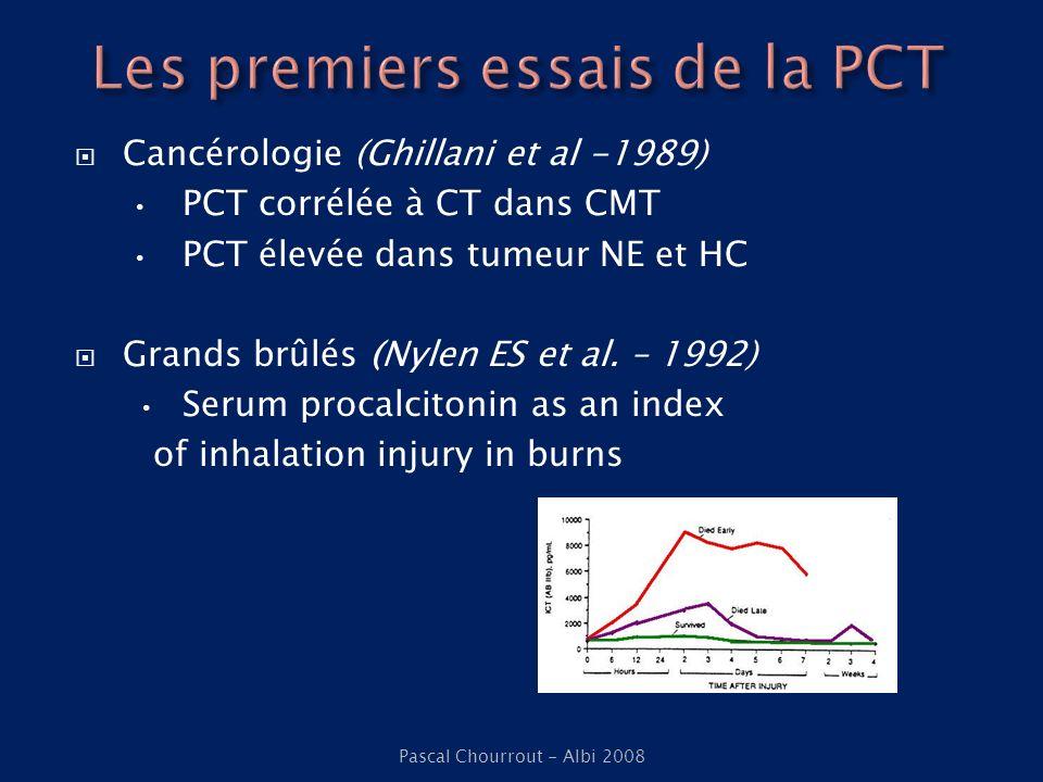 Cancérologie (Ghillani et al -1989) PCT corrélée à CT dans CMT PCT élevée dans tumeur NE et HC Grands brûlés (Nylen ES et al. – 1992) Serum procalcito