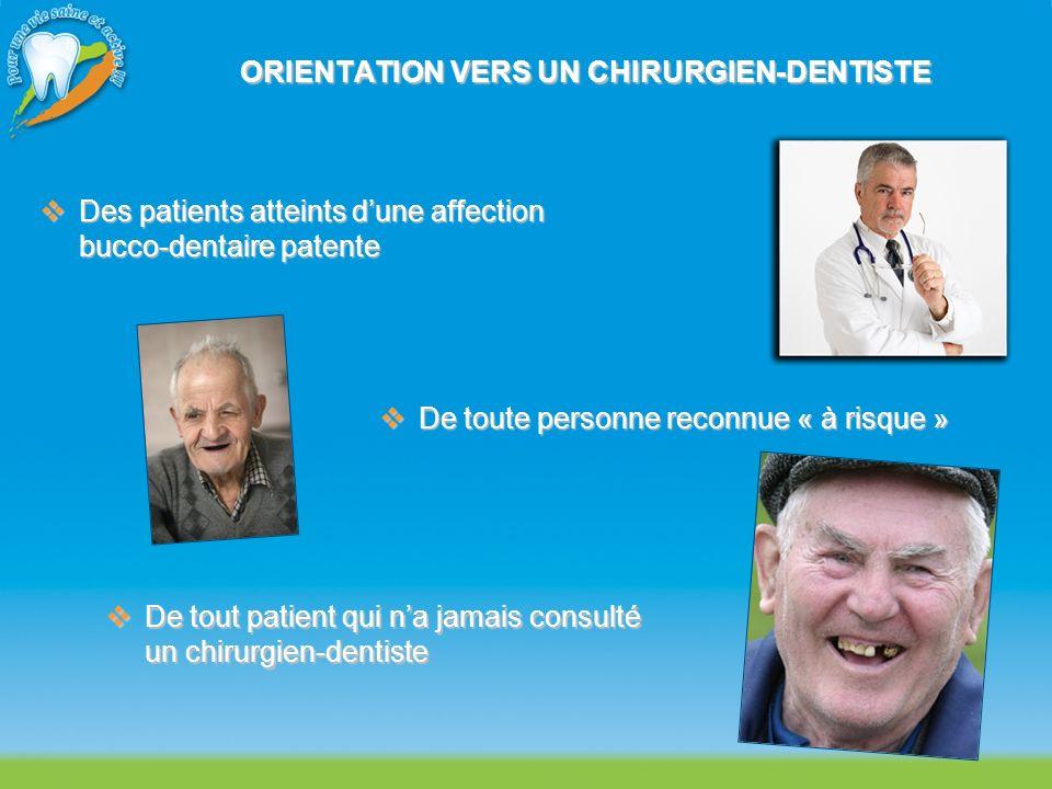ORIENTATION VERS UN CHIRURGIEN-DENTISTE Des patients atteints dune affection bucco-dentaire patente Des patients atteints dune affection bucco-dentair