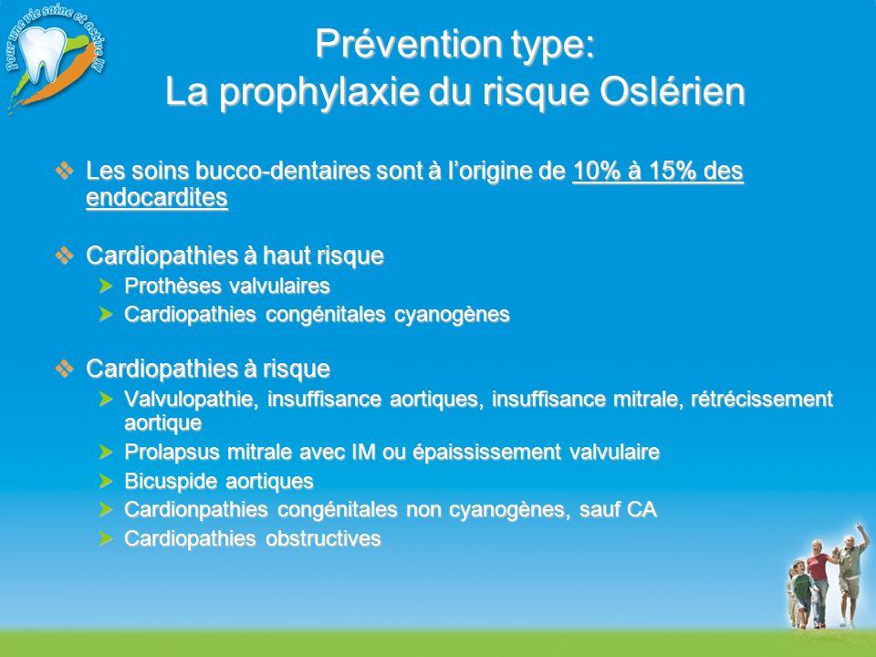 Prévention type: La prophylaxie du risque Oslérien Les soins bucco-dentaires sont à lorigine de 10% à 15% des endocardites Les soins bucco-dentaires s