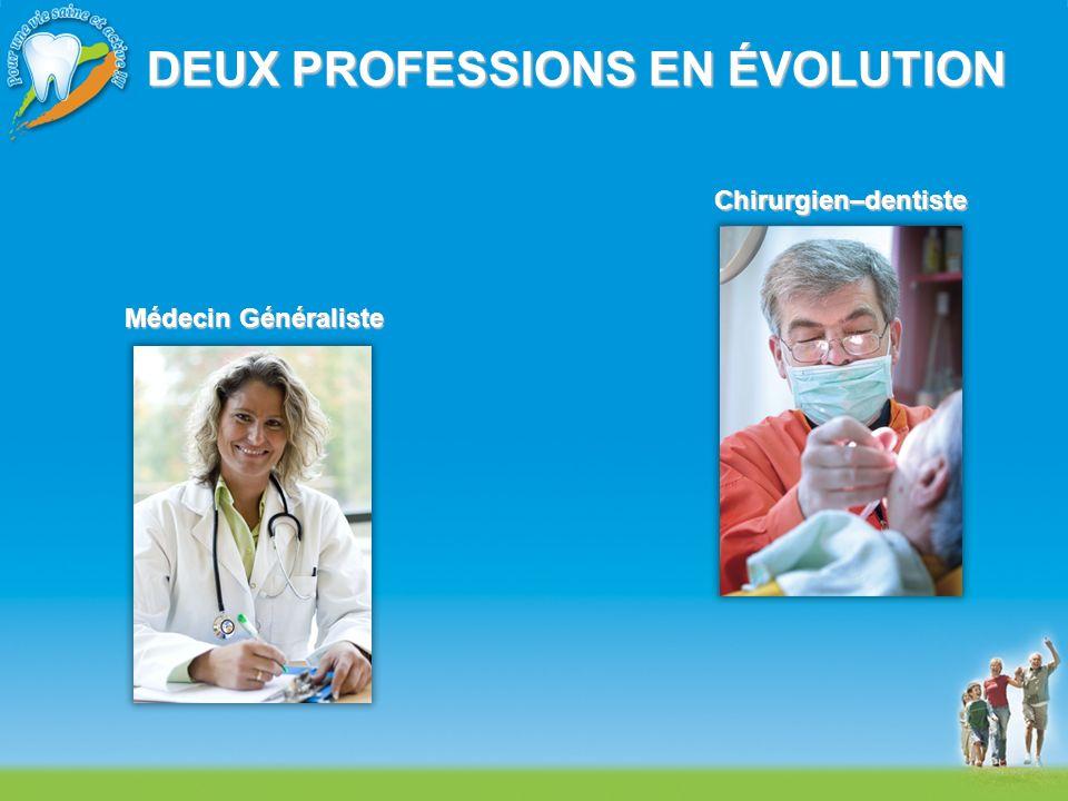 DEUX PROFESSIONS EN ÉVOLUTION Chirurgien–dentiste Médecin Généraliste
