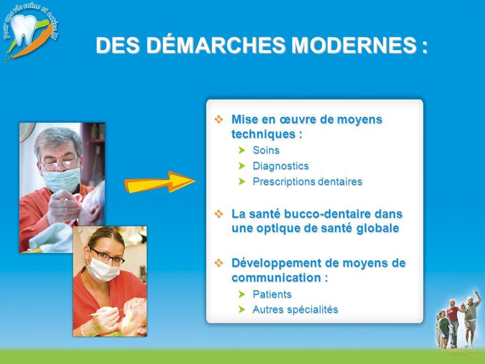 DES DÉMARCHES MODERNES : Mise en œuvre de moyens techniques : Mise en œuvre de moyens techniques : Soins Soins Diagnostics Diagnostics Prescriptions d